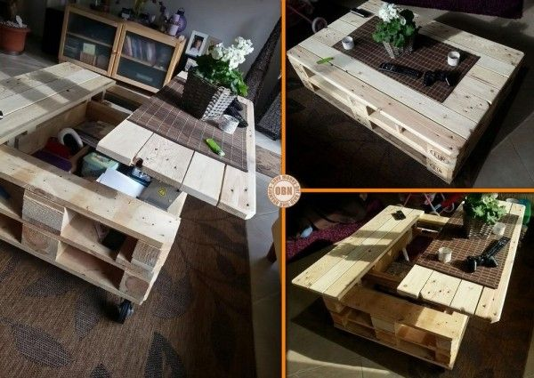 Pallet coffee table with storage opening