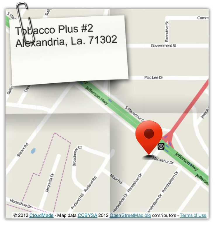 Tobacco Plus Discount Outlet in Alexandria, La. 71302.(318) 487-2914  Discount tobacco products, cigars, cigarettes, pipes, beer, wine, alcohol, liquor, groceries and much more. (courtesy of @Pinstamatic http://pinstamatic.com)