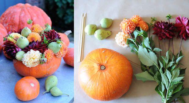 Décoration florale : un vase d'automne dans une citrouilleLes gros pompons colorés des dahlias pourpres et oranges s'harmonisent parfaitement aux petites poires vertes, savamment disposés au coeur d'une généreuse citrouille ventrue. Facile à reproduire, ce joli bouquet d'automnepourra se conserver longtemps, apportant une belle touche de couleurs d'automne dans la maison.