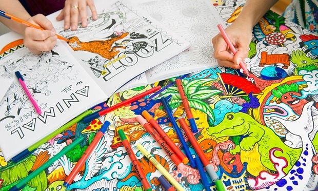 Staff at Michael O'Mara with adult colouring books