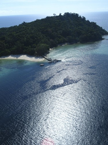 One of the many isolated islands in Borneo