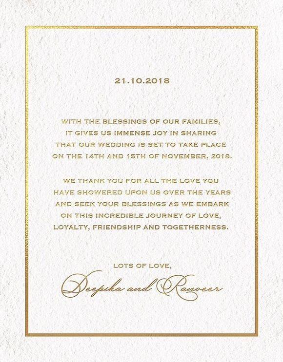 Soon To Be As Married Wedding Invitation Cards Deepika Padukone Big Wedding