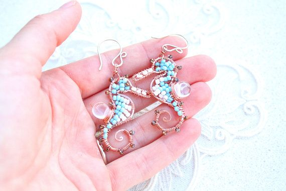 Small Seahorse Wire Earrings White and Turquoise