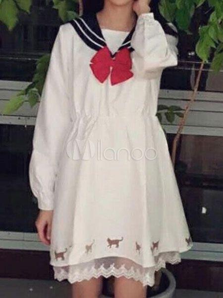Sweet Lolita Dress OP Harajuku Style Sailor Lace Trim White Lolita One Piece Dress-No.5