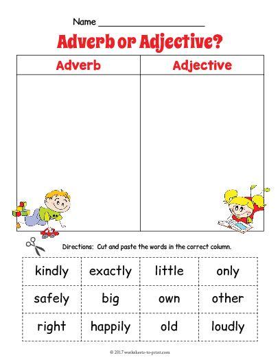 Free Printable Adjective Adverb Sort Worksheet 2