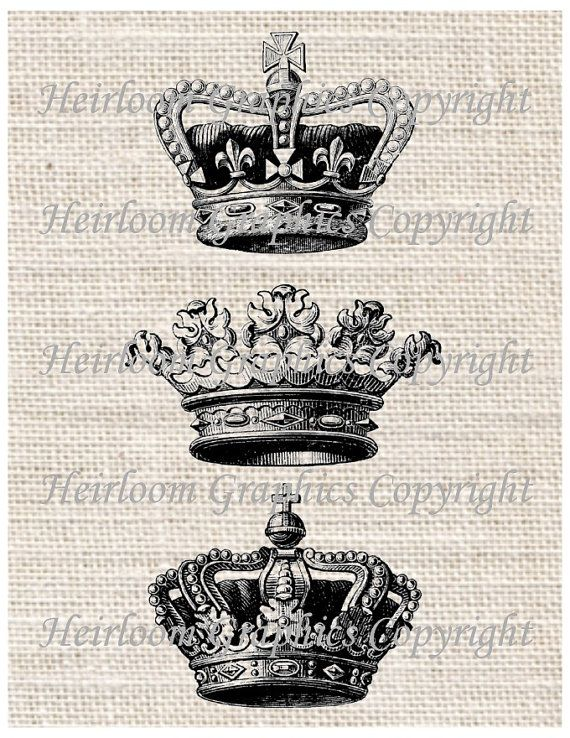Crown Iron On Digital Transfer - Vintage Royal Crowns Words Digital Download For Totes Tees Pillows Burlap Transfers Towels