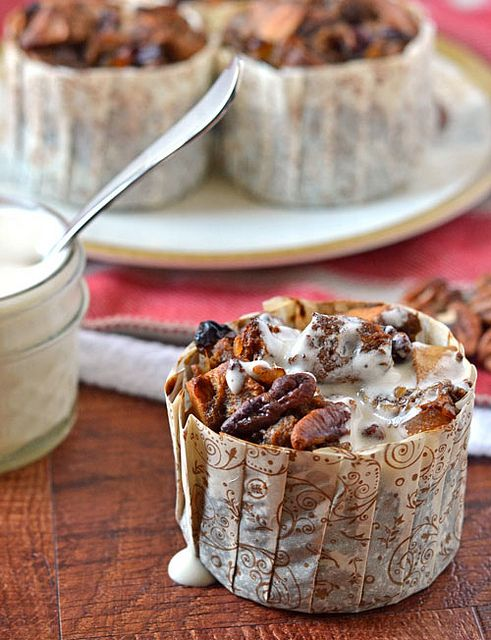 Gingerbread Bread Pudding with Bourbon Sauce. Perfect make-ahead holiday breakfast!