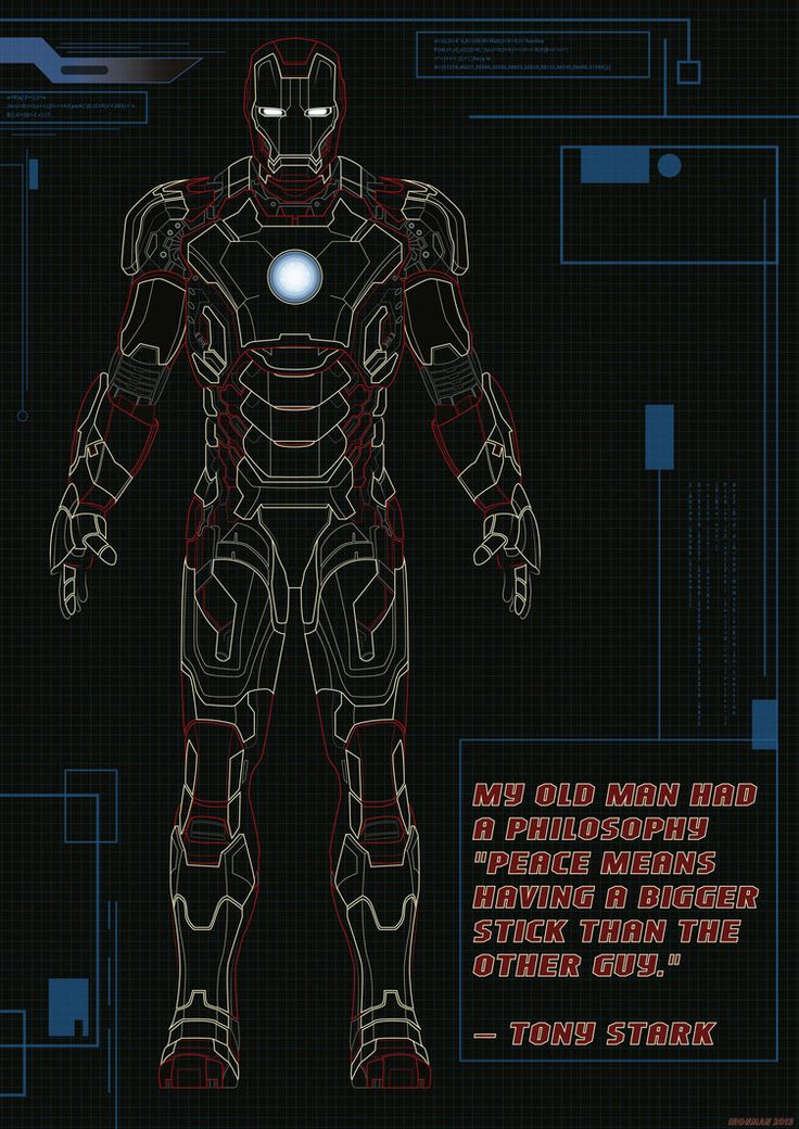 Now Go Build Iron Man Mark 42 Blueprints Stickers Posters
