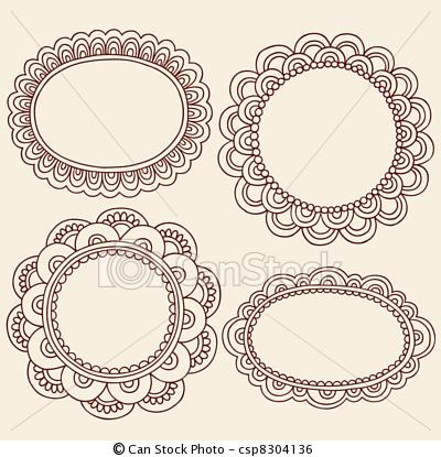 Vector - Henna Mehndi Picture Frames Vector - stock illustration, royalty free illustrations, stock clip art icon, stock clipart icons, logo, line art, EPS picture, pictures, graphic, graphics, drawing, drawings, vector image, artwork, EPS vector art