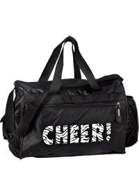 "Cheer Zebra Duffle Bag  The stacked cheerleader bag is a black bag with imprinted ""Cheer"" in zebra lettering on the front. It features front zipper pocket, side pockets for valuables, water bottle and adjustable shoulder strap. It is 100% nylon. The dimensions are 15""l x 11""w x 11""h."
