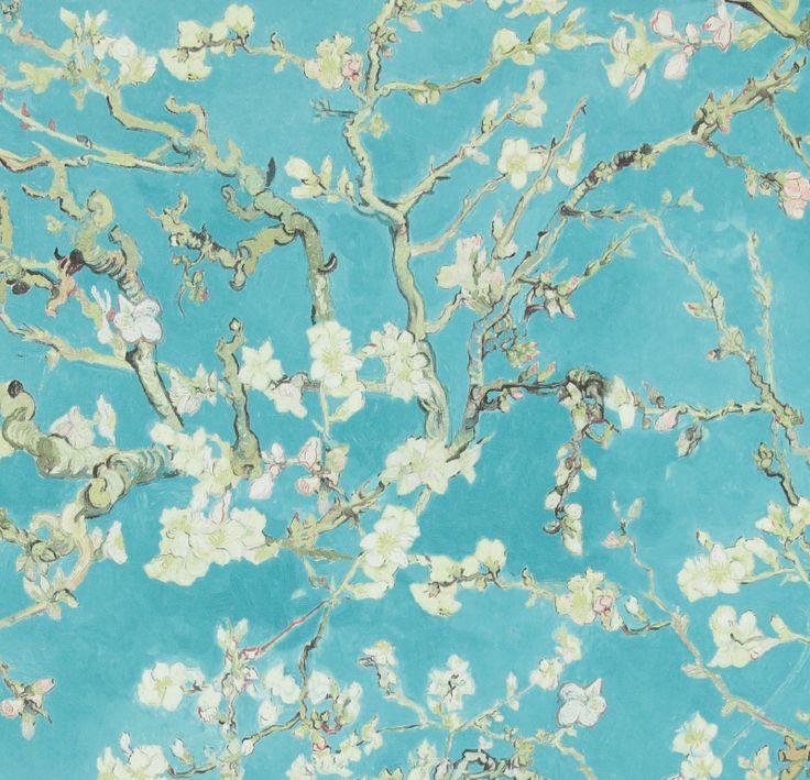 BN Van Gogh behang 17140 Almond Blossom | Groen behang | www.behangwereld.nl