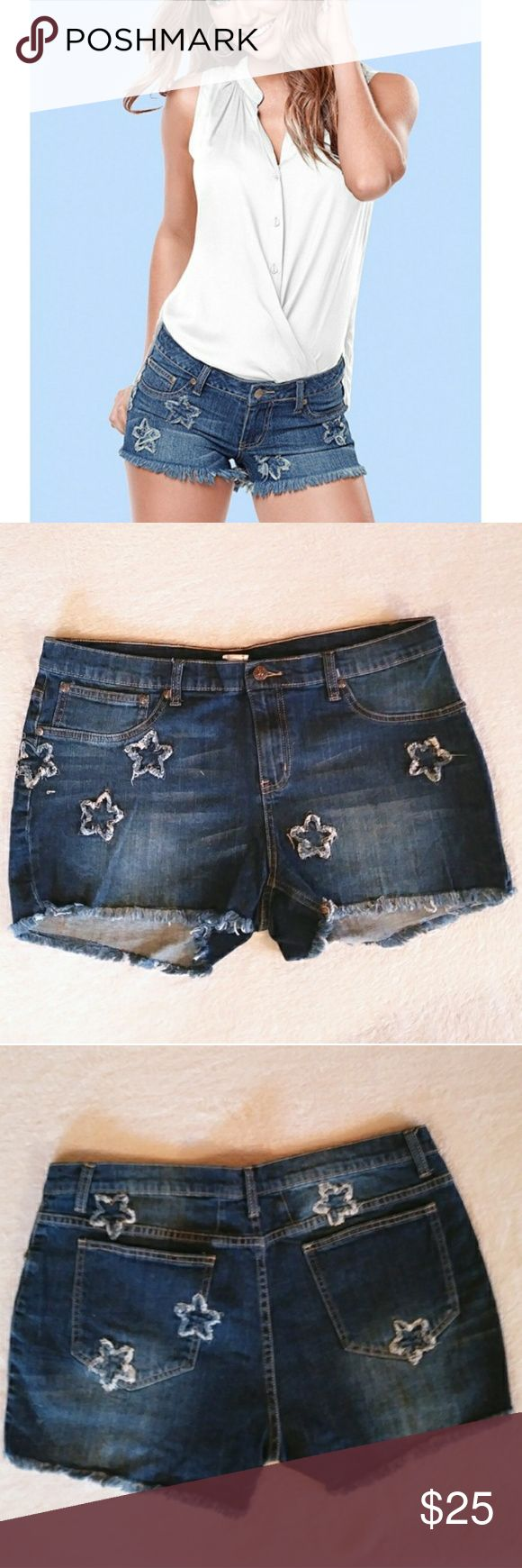"""NWOT Venus Star Detail Jean Shorts Venus Star Detail Jean Shorts size - 16 in medium wash. New in package, never worn. These jean shorts have patchwork-like detail at front and back as well as frayed edges. Button tab and zipper closure, 5 pocket styling, and an approximate 3"""" inseam. Very cute! VENUS Shorts"""