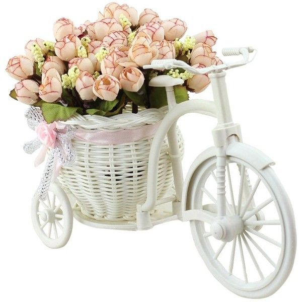 JAROWN Artificial Flowers with Vase Basket Silk Rose Bicycle Stand... ❤ liked on Polyvore featuring home, home decor, floral decor, silk bouquets, silk flowers, bicycle home decor, silk flower arrangement and silk rose bouquet