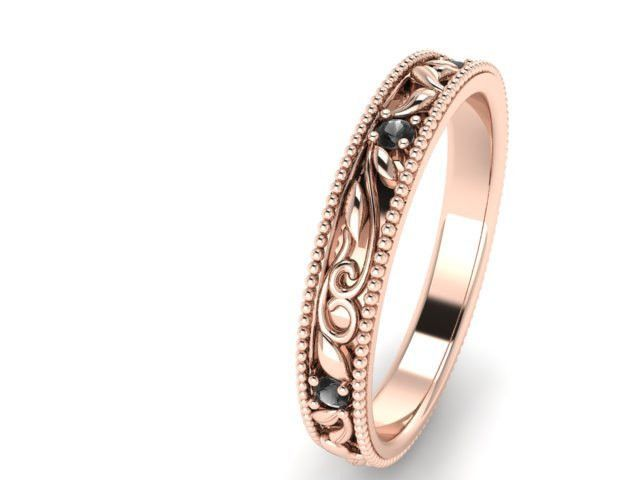 Bohemian Wedding Rings, Wedding and Engagement Ring, Rose Gold and Black Diamonds, Unique Wedding Band, Paisley and Vine Pattern Rings