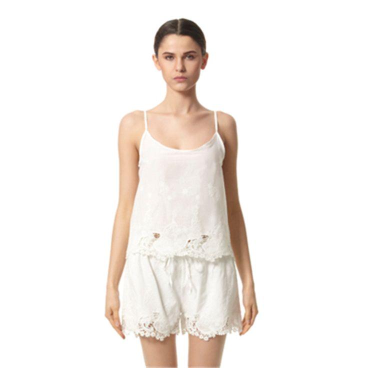 2016 New Pajamas Set Summer Sling Sleepwear Cotton Stitch Chicken eyelet Vest Pyjamas