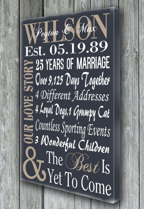 Best 25 25th anniversary gifts ideas on pinterest 40th for 1st year anniversary gift ideas for wife