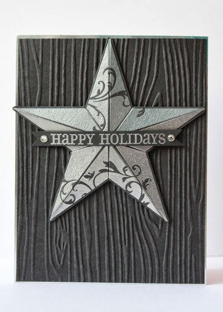 handmade Christmas card from Ladybug Designs ... black/deep gray with silver embossed star ... luv the look of wood grain ... Stampin' Up!