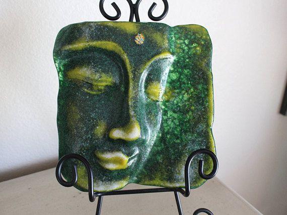 Buddha, Fused glass Buddha head, cast fused glass Buddha head, glass Buddha with metal stand, fused cast glass Buddha  head with stand