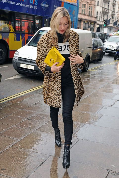 Kate Moss Style - Kate Moss Street Style Photos leopar coat, yellow bag black clothes