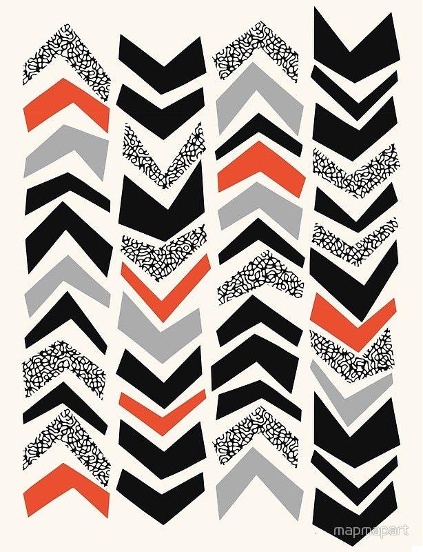 CHEVRONS ROUGH, black and orange by Paul Allitt for mapmapart | Redbubble
