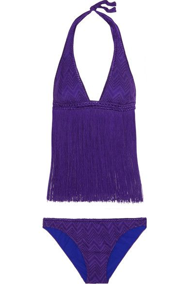 Missoni - Mare Fringed Crochet-knit Bikini - Purple - IT