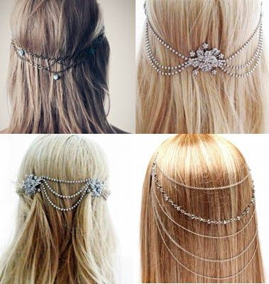 Back Piece Bridal Head Chains << I'm not sure I could wear them for MY wedding, but I actually really like these....