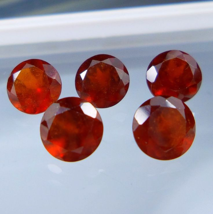 5 Carat 6 MM Natural Hessonite Red Garnet Round Shape Cut Stone 5 Pieces Lot #Unbranded