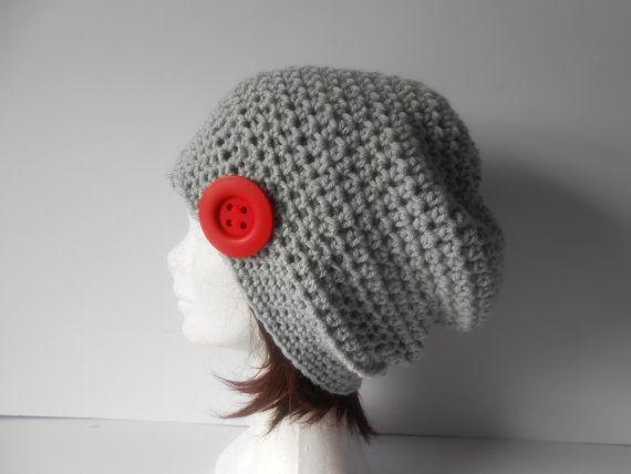 Slouchy gray hat. Crochet slouch hat. Women's grey by AluraCrafts
