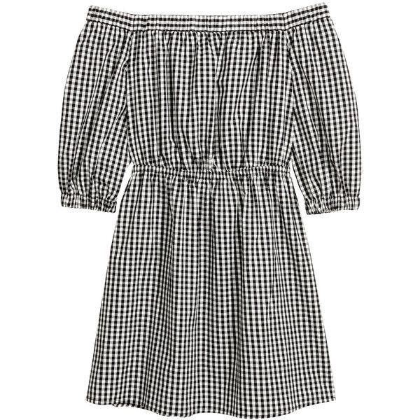 Off shoulder-klänning 249 ($30) ❤ liked on Polyvore featuring check print dress, short dresses, 3/4 sleeve dress, three quarter sleeve dress and off shoulder short dress
