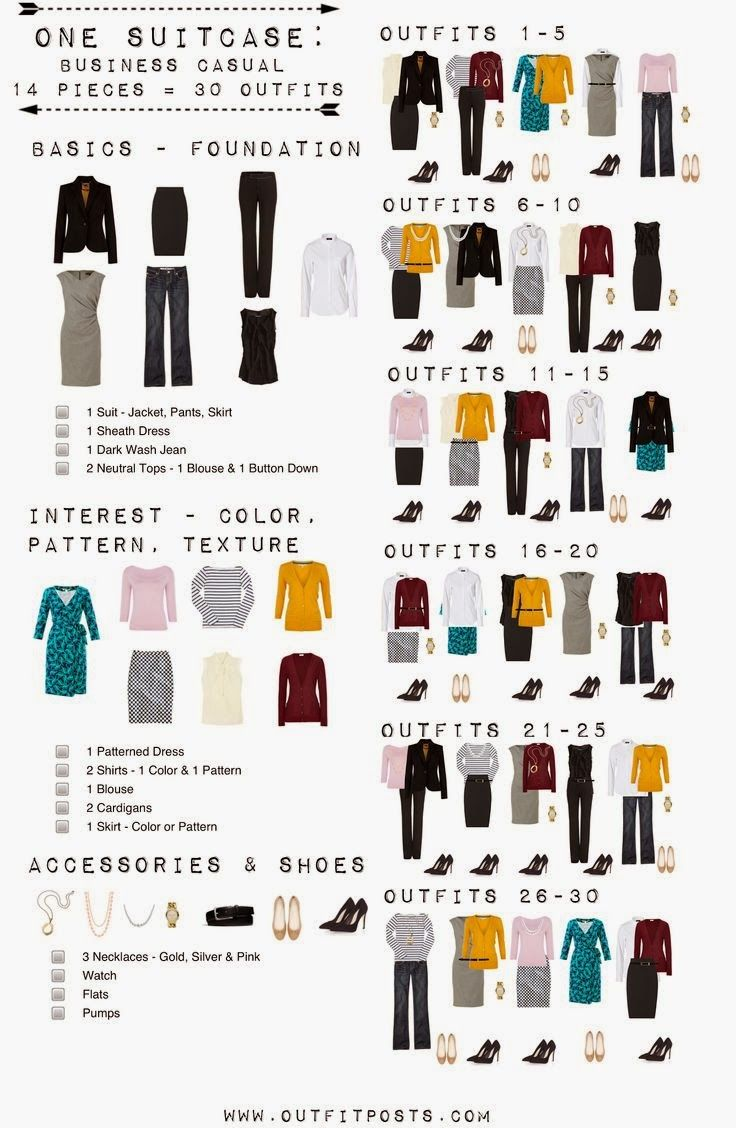 One suitcase: Business casual, 14 pieces = 30 outfits. This is what I'm packing for my trip to Dallas.