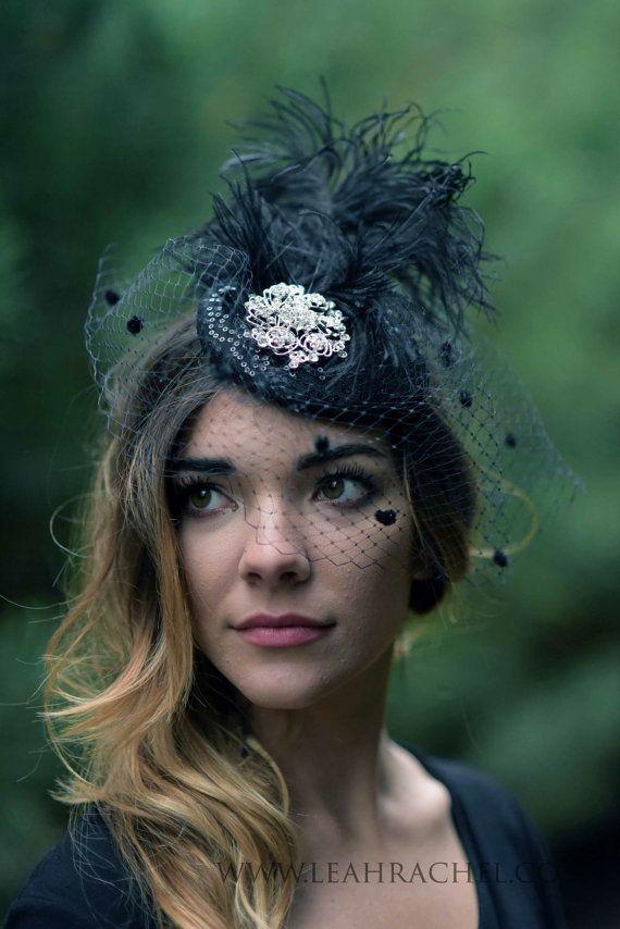 Black Hat Black Fascinator Kentucky Derby Hat by RubyandCordelias