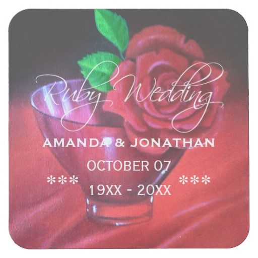 40th Ruby Wedding Anniversary Red Rose Square Paper Coaster