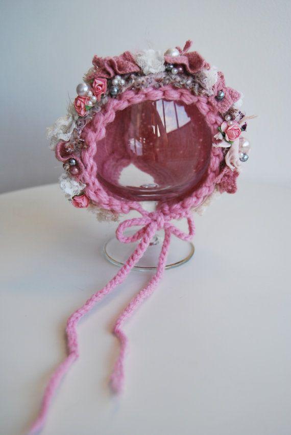 OOAK Knitted Newborn Bonnet Wool Bonnet by LovelyBabyPhotoProps