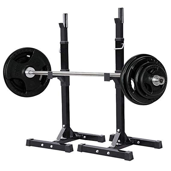 Yaheetech Pair Of Adjustable Squat Rack Standard Solid Steel Squat Stands Barbell Free Press Bench Home Gym Portable Dumb Dumbbell Rack Squat Rack Squat Stands