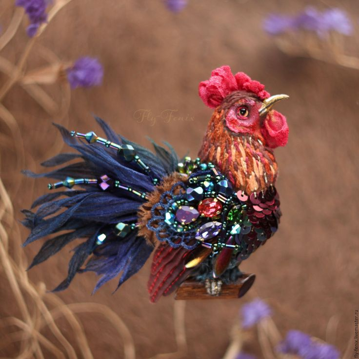 Miniature hand painted natural silk and cotton beaded textile 'RED ROOSTER' brooch ....................................................................................... by Julia Gorina