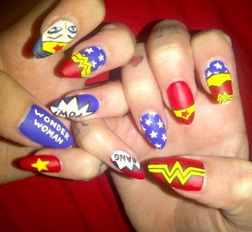 Wonder Woman Nails - hate the stiletto nails, but love the design!