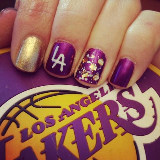 Laker Nails : ) Go Lakers! Kobe Bryant!!