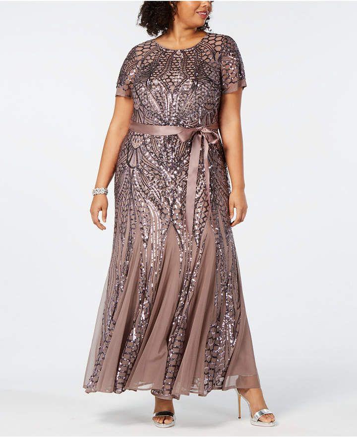 R & M Richards Plus Size Sequined Godet Gown & Reviews ...