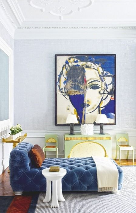 Juan Montoya.  home decor and interior decorating ideas.  living room.  chaise.  oil painting.