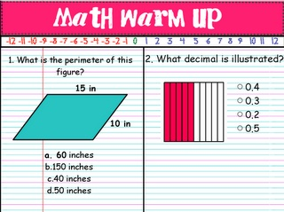 Free Activinspire math warm ups for sixth grade!