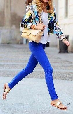 Bright blue pants. White flowy shirt. Floral blazer. Gold accessories.