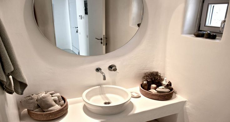 "Your bathroom during your vacation in our ""Villa Aurora"" - Mykonos, Greece. You can rent it ! #luxury #villa #rent #holidays #greece #vacances #grece #alouer #aroomwithaview #decoration #bedroom #bathroom"
