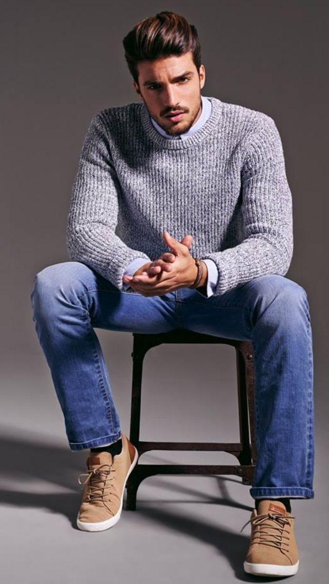 Men's Grey Cable Sweater, Light Blue Dress Shirt, Blue Jeans, Tan Plimsolls