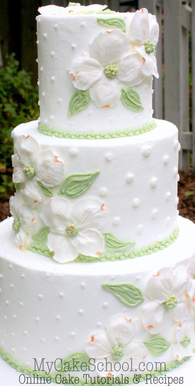 Learn to pipe BEAUTIFUL Buttercream Dogwoods in MyCakeSchool.com's Cake Decorating Tutorial {member section}. Online Cake Decorating Tutorials & Recipes.
