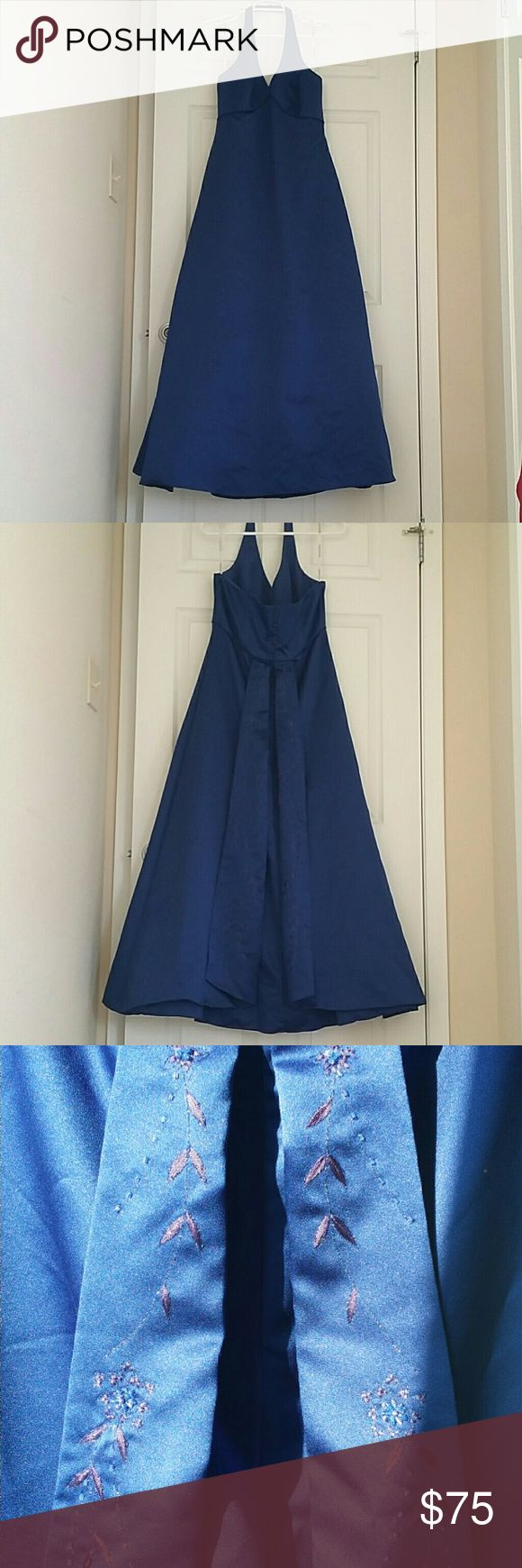 Royal Navy Formal dress. Worn once as a Maid of Honor dress. Good condition  Been stored in a box in my closet so could probably use another dry cleaning and pressing. Need it gone, downsized and have less closet space. Make an offer. David's Bridal Dresses