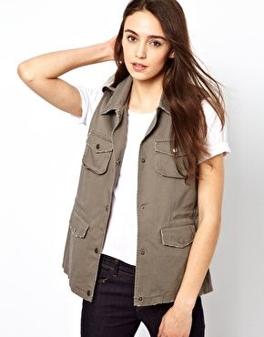 Vero Moda Sleeveless Military Jacket- asos