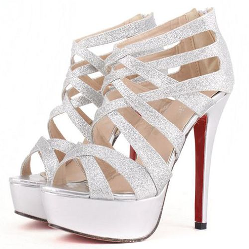 Sexy Silver Cross Strap High Heel Sandals