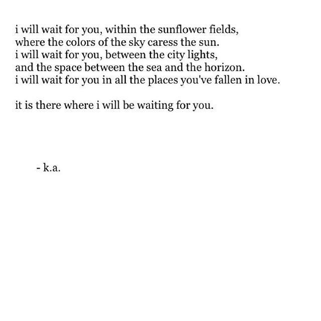 I'll be waiting.