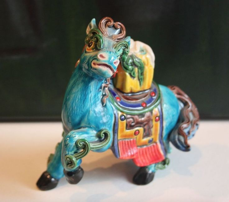 Vintage Asian Chinese Ceramic Horse Statue