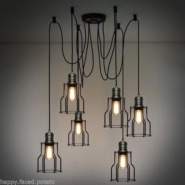INDUSTRIAL LOFT 6 wire cage Chandelier Pendant Ceiling Light Retro Rustic Edison